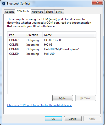 COM Ports - Bluetooth Settings